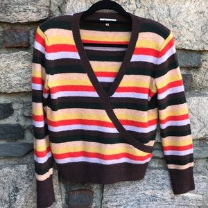Soft Madewell Striped Sweater Wool Blend V Neck